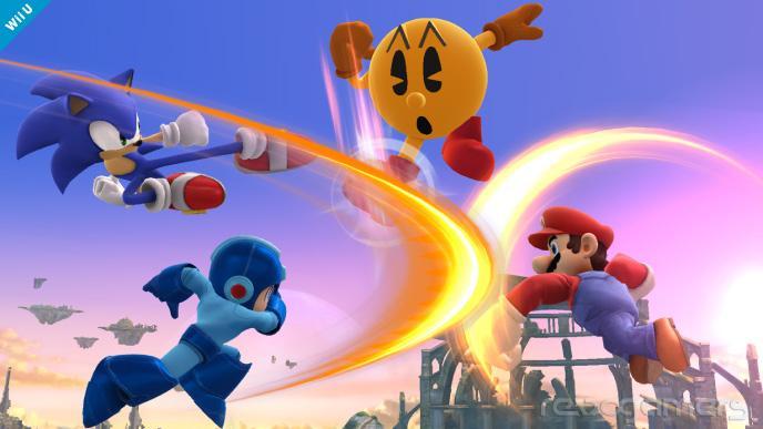 Mario, Sonic, Mega Man y Pac-Man Super Smash Bros
