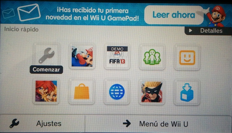Quick Start Menu Wii U