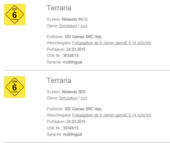 Terraria Wii U y Terraria Nintendo 3DS
